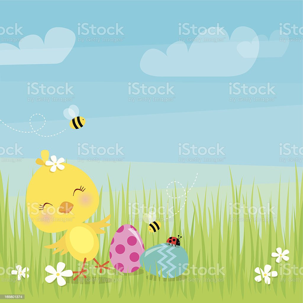 Dancing Easter chick royalty-free stock vector art