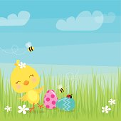 Vector illustration of an Easter chick. EPS 10 file. Transparencies used. Plenty of space for text. Elements are grouped and layered for easy editing. View my portfolio for similar images.