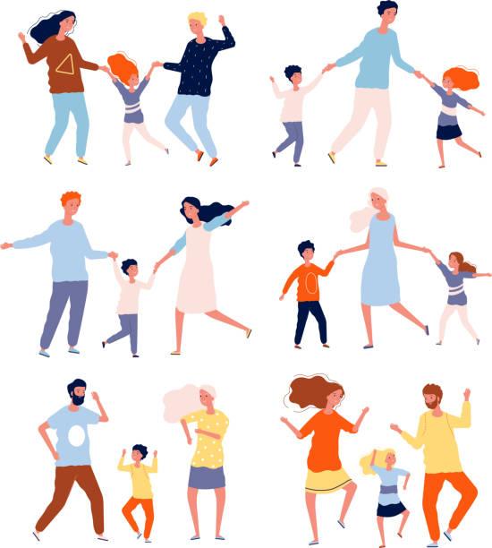ilustraciones, imágenes clip art, dibujos animados e iconos de stock de familia bailando. niños jugando y bailando con padres madre padre hijos bailarines colección de personajes vectoriales - hija