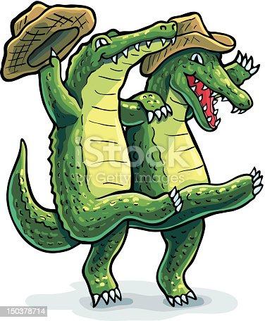 Illustration of two dancing Alligators wearing Cowboy hats.