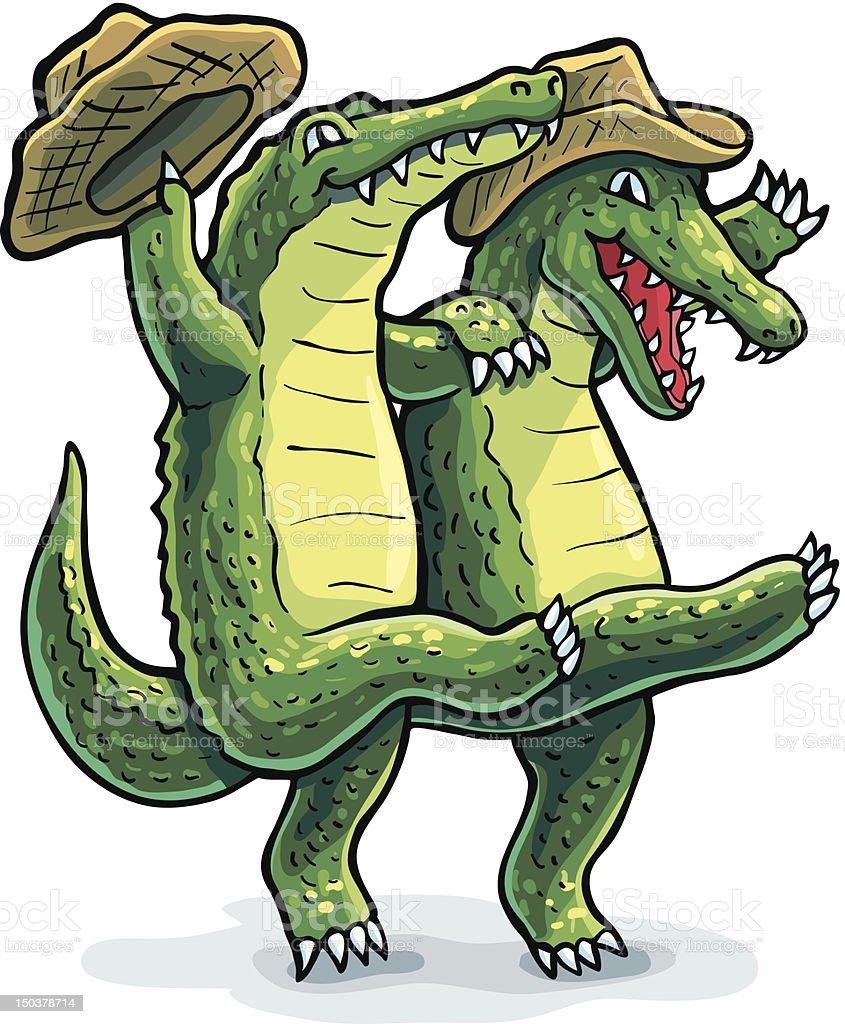Dancing Gators vector art illustration