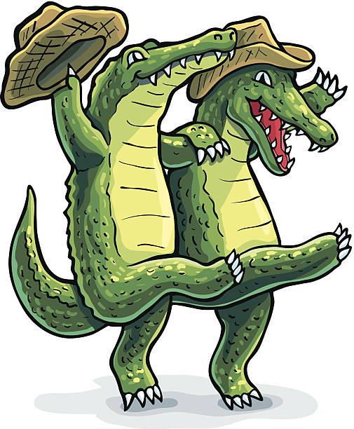 dancing gators - alligator stock illustrations