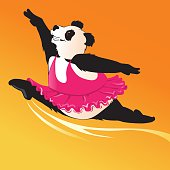 Cartoon illustration of a giant panda ballerina in hot pink tutu performing grand alegro. Separate layers for easy editing. High resolution JPG and Illustrator 0.8 EPS included.