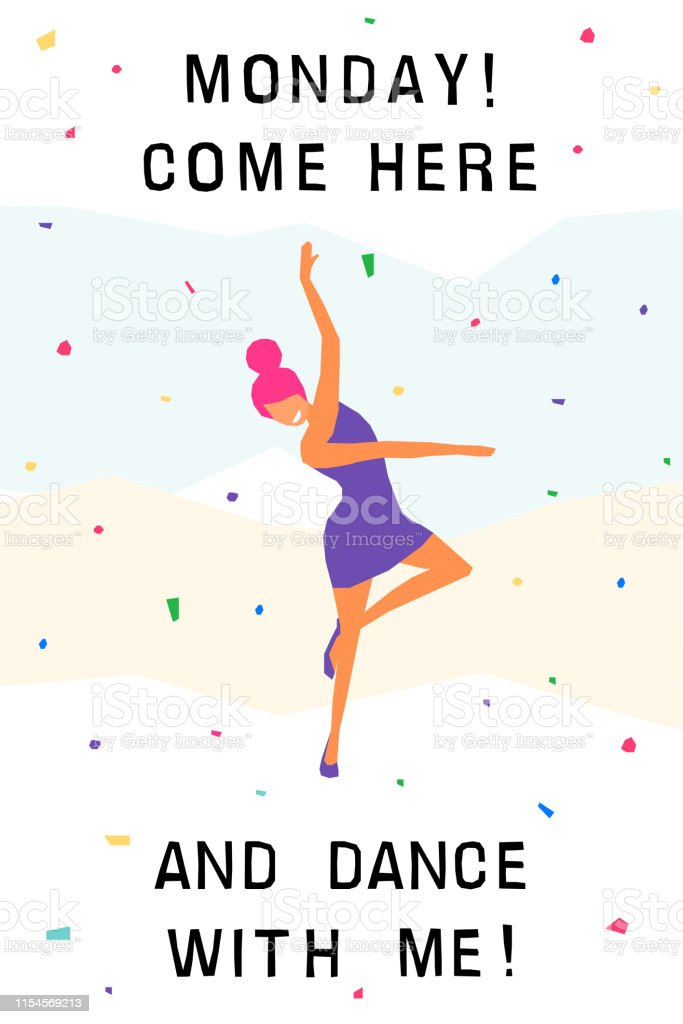 Dancing girl card background. Happy dansing bright colored adult...
