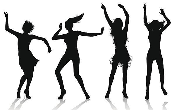 Dancing girl silhouettes vector art illustration