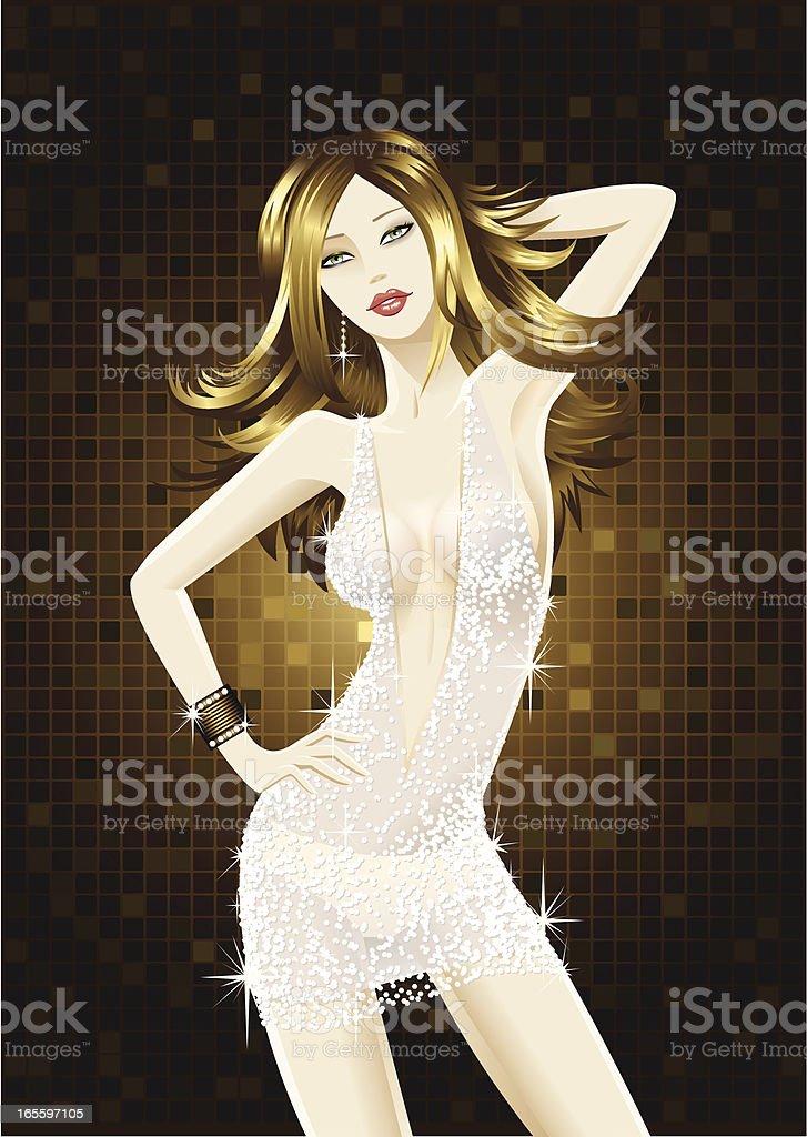 Baile Chica usa un vestido de diamante ilustración de baile chica usa un vestido de diamante y más banco de imágenes de a la moda libre de derechos