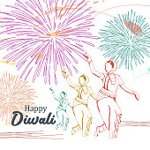 Happy Diwali with dancing girls multicolor hand drawn and fireworks. Festival of lights for Hindu community vector.