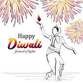 Dancing girl with burning diya illustration for happy diwali greeting design with hand drawn fireworks vintage colorful vector.