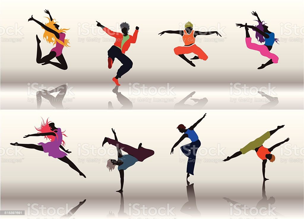 Dancing Group01 vector art illustration
