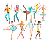 Set of people dancing character in different poses. Beautiful, sporting dancing guys, women, teenagers, boys and girls in modern dance styles with different movements. Illustration in cartoon style.