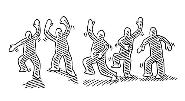Dancing Human Figures Motion Drawing Hand-drawn vector drawing of a Group of Dancing Human Figures in Motion. Black-and-White sketch on a transparent background (.eps-file). Included files are EPS (v10) and Hi-Res JPG. cartoon character figure stock illustrations