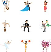 Dancing icons set. Cartoon illustration of 9 dancing vector icons for web