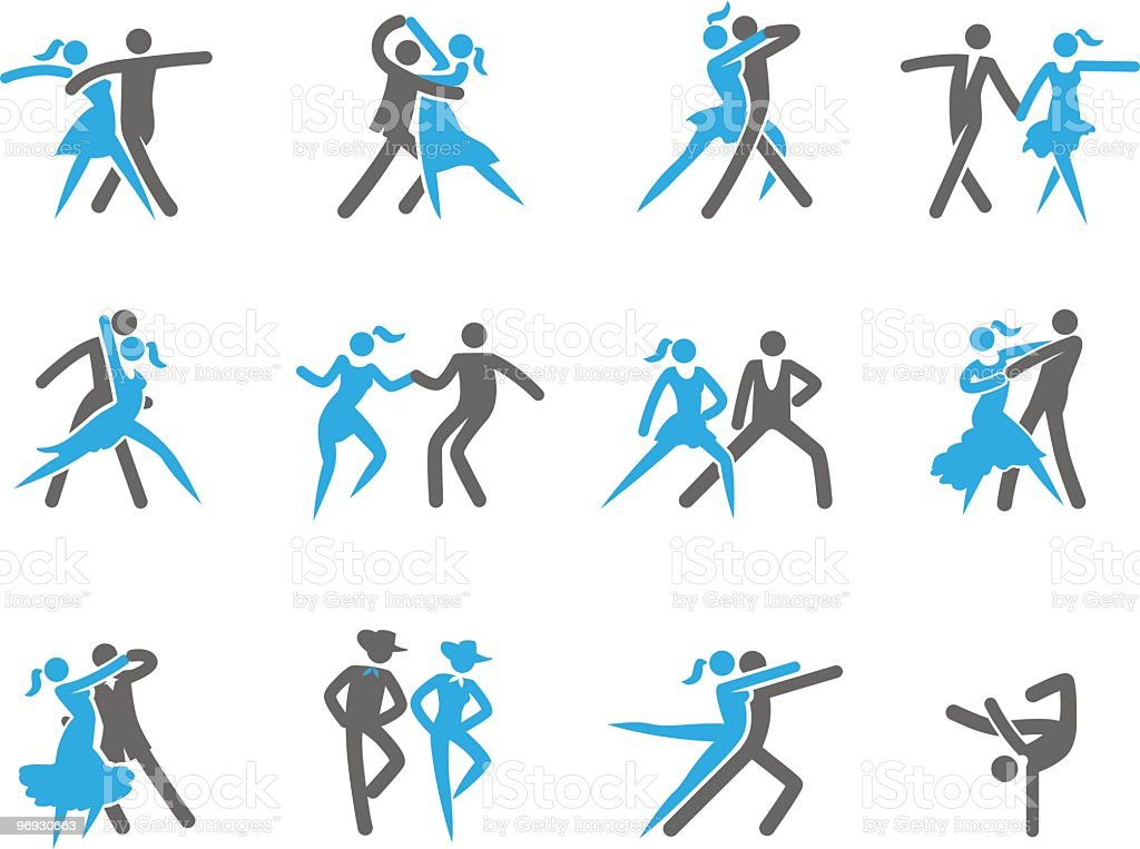 Dancing in 12 different ways vector art illustration