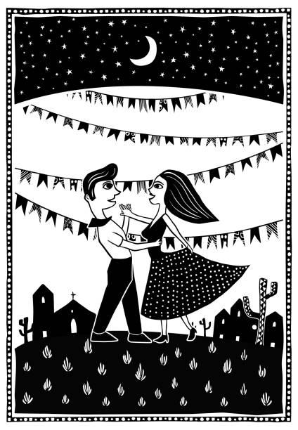 tanzen im mondlicht. nettes paar tanzen. große partei festa junina traditionellen brasilianischen holzschnitt stil vektor illustration - holzschnitt stock-grafiken, -clipart, -cartoons und -symbole