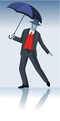 Gentleman is dancing in the rain. Included illustrator cs3 source file.