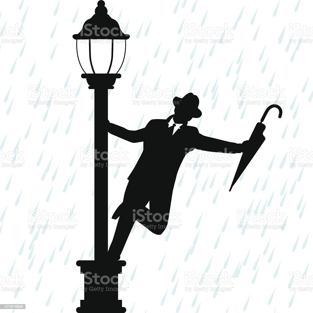 Dancing in the Rain vector art illustration