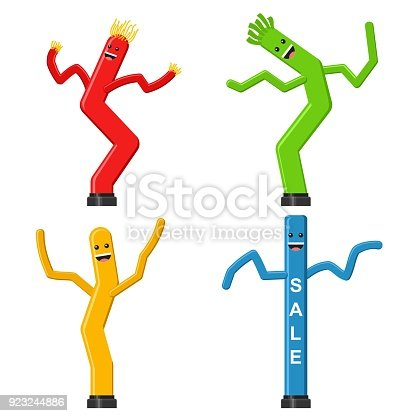 Dancing Inflatable Tube Man Set In Flat Style Isolated On