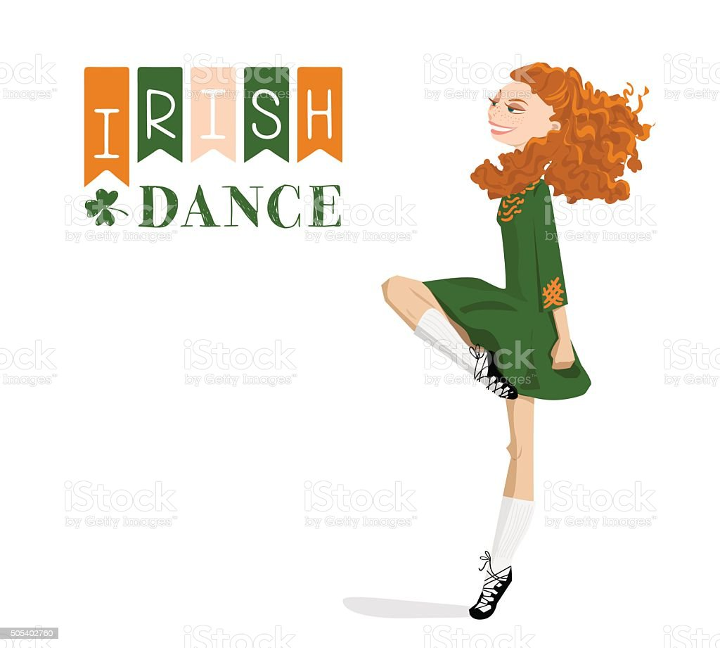 Dancing Irish girl in traditional dress. St. Patrick's Day. vector art illustration