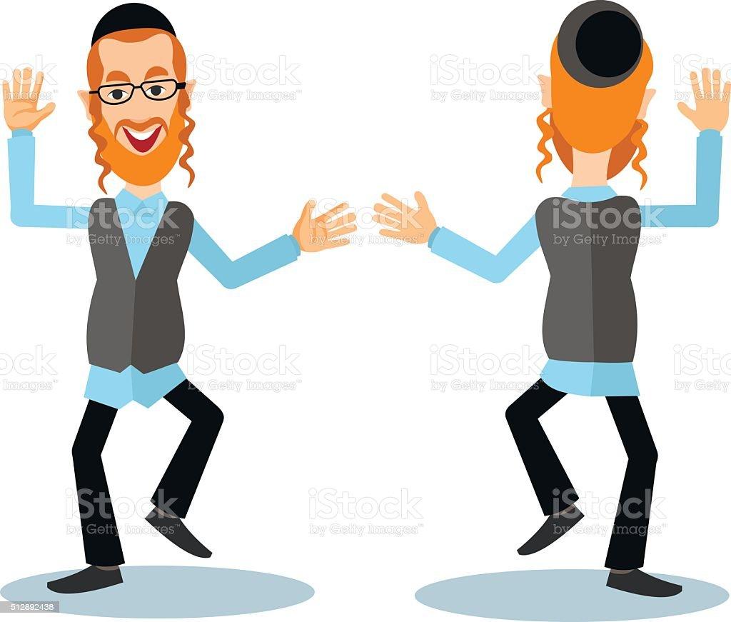 dancing jew vector art illustration