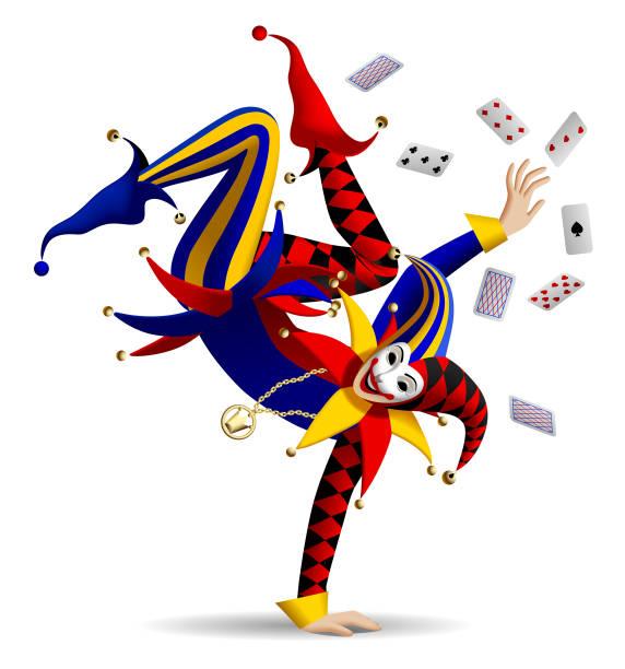 joker tanzen mit spielkarten auf weiß - smileys zum kopieren stock-grafiken, -clipart, -cartoons und -symbole
