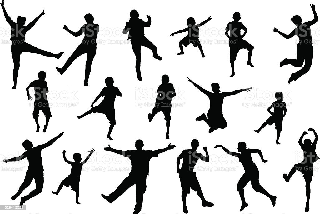 Dancing, jumping childrens and adult people, beach party silhouette set vector art illustration