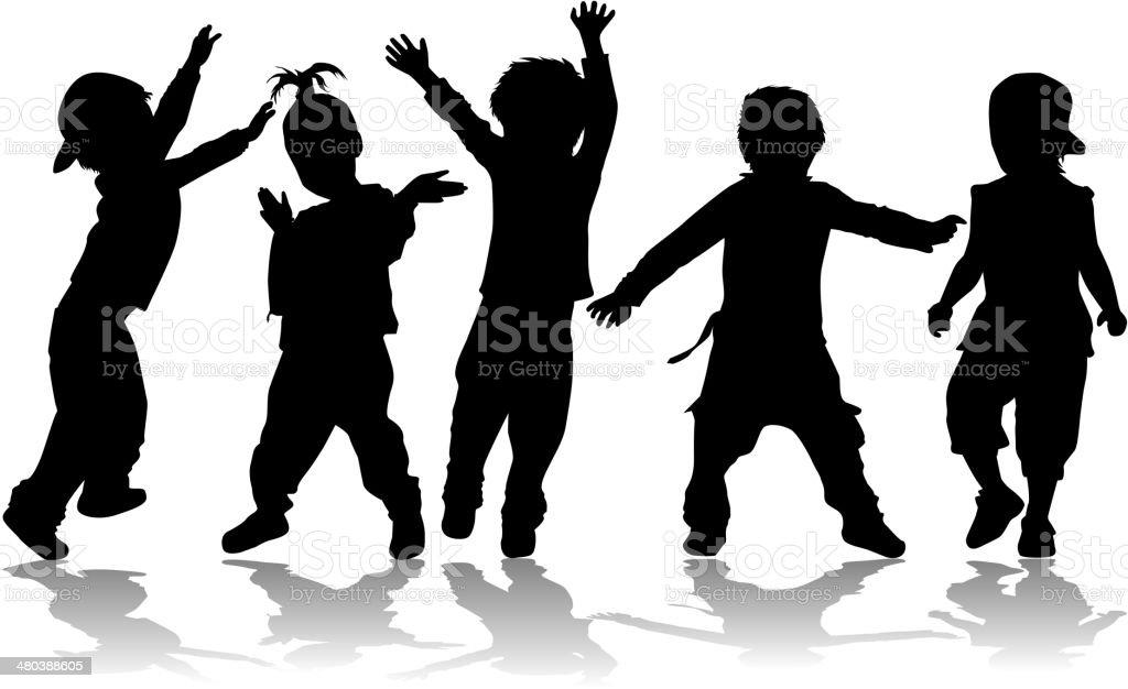 Dancing kids - black silhouettes. vector art illustration