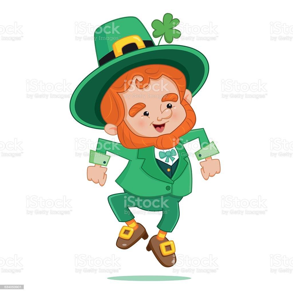Dancing Leprechaun vector art illustration