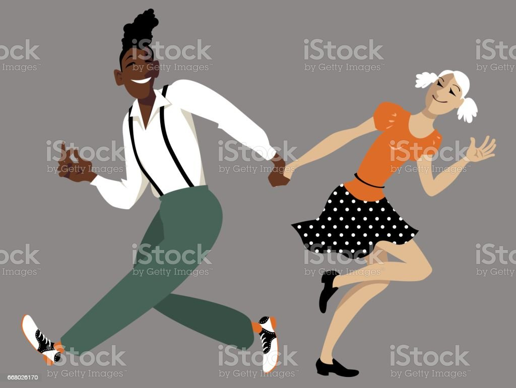Dancing lindy hop vector art illustration