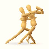 dancing mannequins. this editable vector file contains eps8, aics3, ai10, 300dpi jpeg formats.