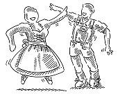 Dancing Oktoberfest Couple Drawing