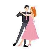 Dancing pair of man in a shirt with a tie and red-haired girl in a long pink dress. Vector illustration in flat cartoon style.