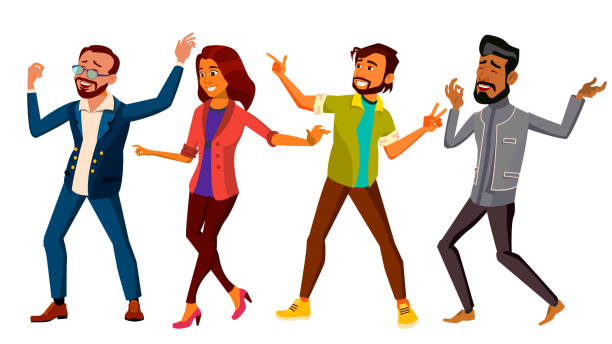 Dancing People Set Vector. Active Woman, Man. Important Event. Isolated Flat Cartoon Illustration vector art illustration