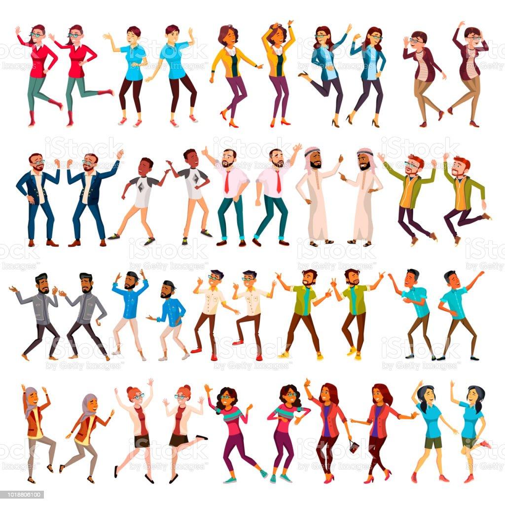 Ilustración De Bailando Personas Establece Vector Celebración De