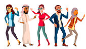 Dancing People Set Vector. Smiling And Have Fun. Free Movement Poses. Isolated Flat Cartoon Illustration