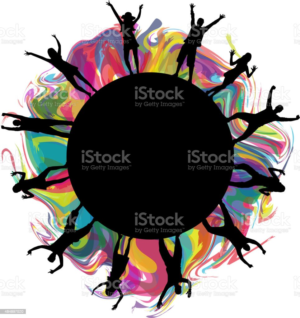 Dancing people silhouettes vector art illustration