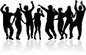 Dancing people silhouettes. Vector work.