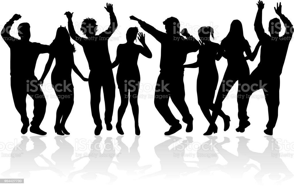 Siluetas de gente bailando. Trabajo de vectores. - ilustración de arte vectorial