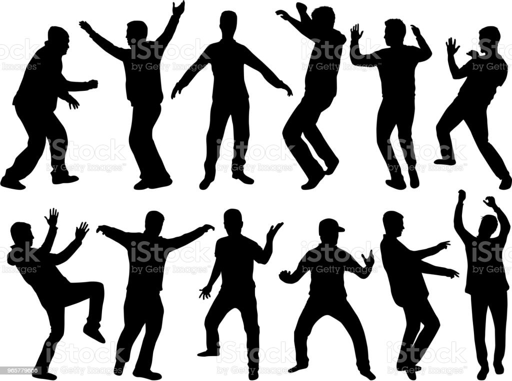 Dancing people silhouettes. Vector work. - Royalty-free Adult stock vector