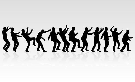 Dansende Mensen Silhouetten Vector Werk Stockvectorkunst en meer beelden van Canada