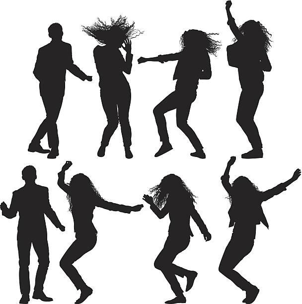 Dancing people vector art illustration