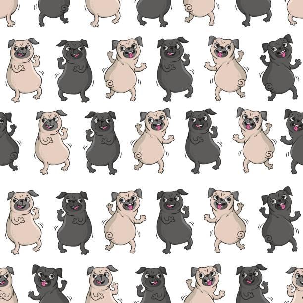 tanzende pugs. nahtlose vektormuster. - hundeleckerli stock-grafiken, -clipart, -cartoons und -symbole