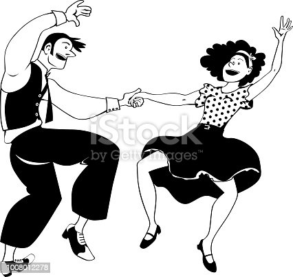 Clipart - Fifties Dancers - Dancing Couple Silhouette - Free Transparent  PNG Clipart Images Download