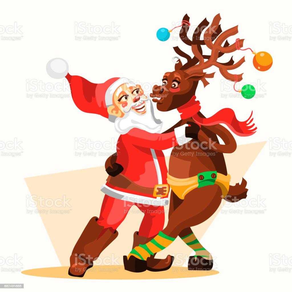 Frohe Weihnachten Lustige Bilder.Tanzender Weihnachtsmann Mit Rentier Weihnachten Lustige Und
