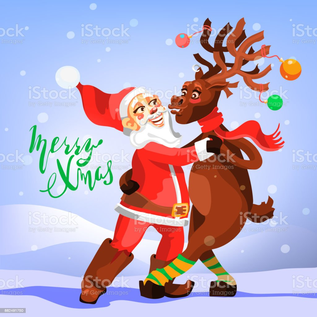 Christmas Dancing Santa.Dancing Santa Claus With Christmas Reindeer Funny And Cute