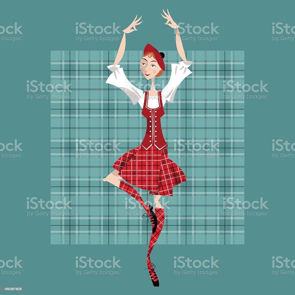 Dancing scottish girl in national clothes. Scottish Highland Dancing. vector art illustration