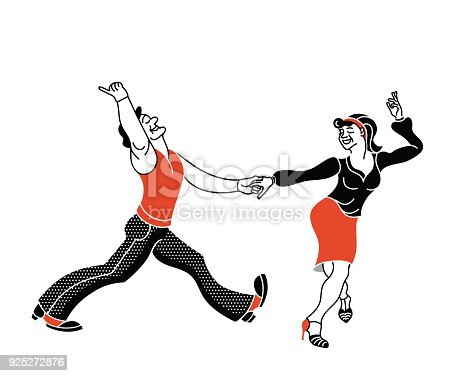 istock Dancing seniors. Happy old people have fun. Active pensioners.Retro red color.Couple silhouettes dancing swing, rock or lindy hop. Simple vector print 925272876