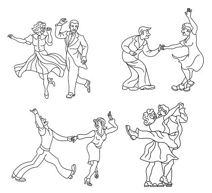 Dancing seniors set. Happy old people have fun. Active pensioners. Couple silhouettes dancing swing, rock or lindy hop.Outline retro dancer silhouette