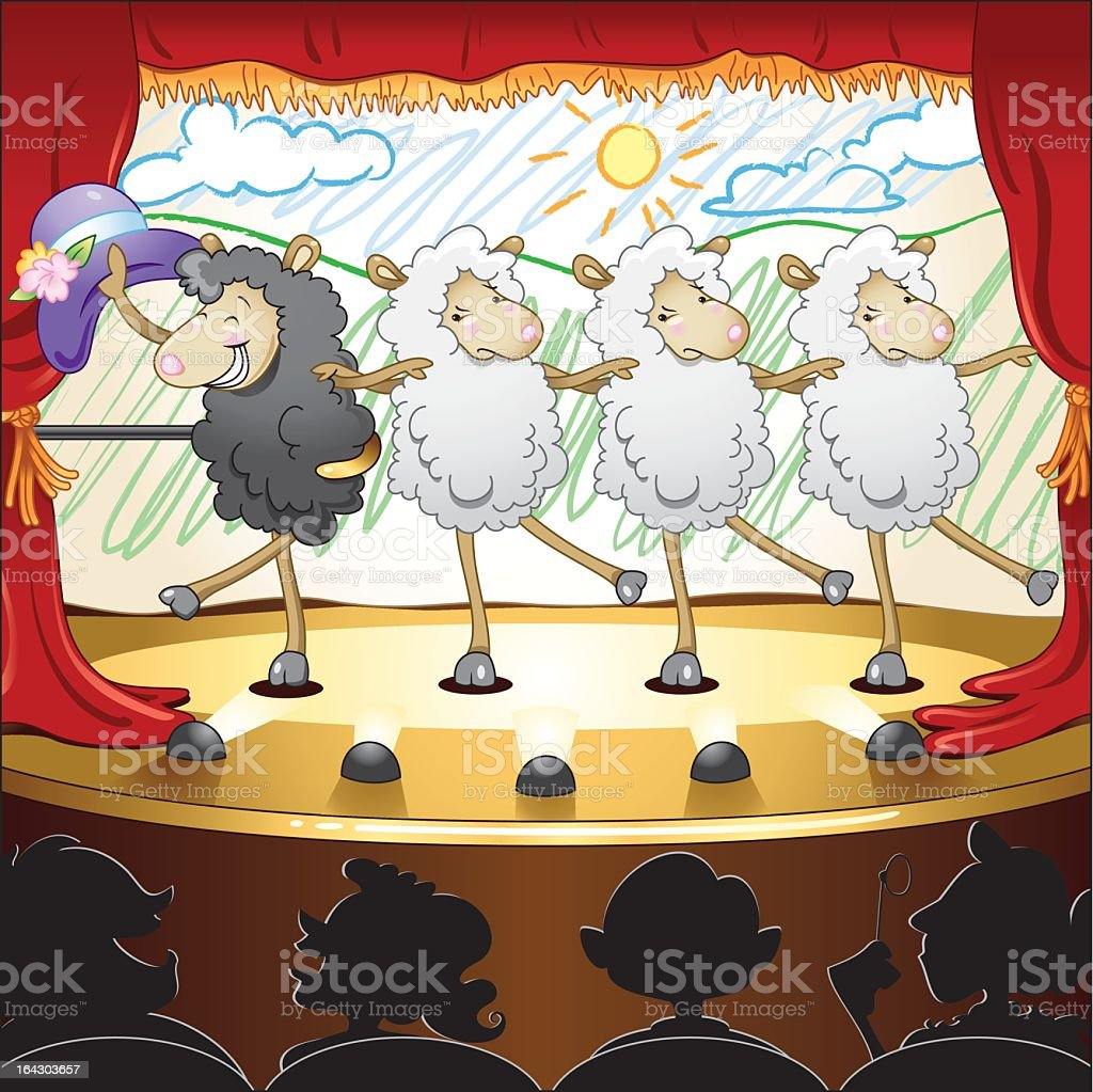 Dancing sheep in the theater, comic style graphic vector art illustration