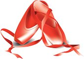 red dancing shoes on a white background