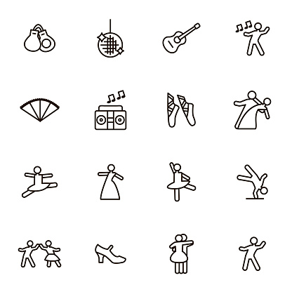Dancing Signs Black Thin Line Icon Set. Vector clipart
